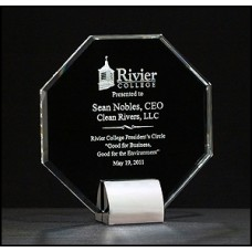 Octagon Series Crystal trophy w/ chrome-plated base